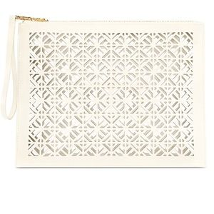 Tory Burch White Clutch / Cosmetic Bag